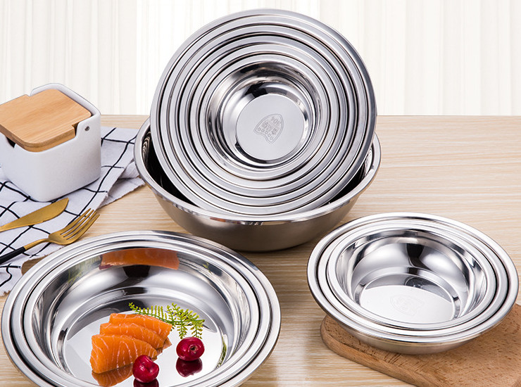 04 Stainless Steel Thickening Deep Disc Home School Canteen Dish Dish Fruit Plate Barbecue Plate Multi-Purpose Plate
