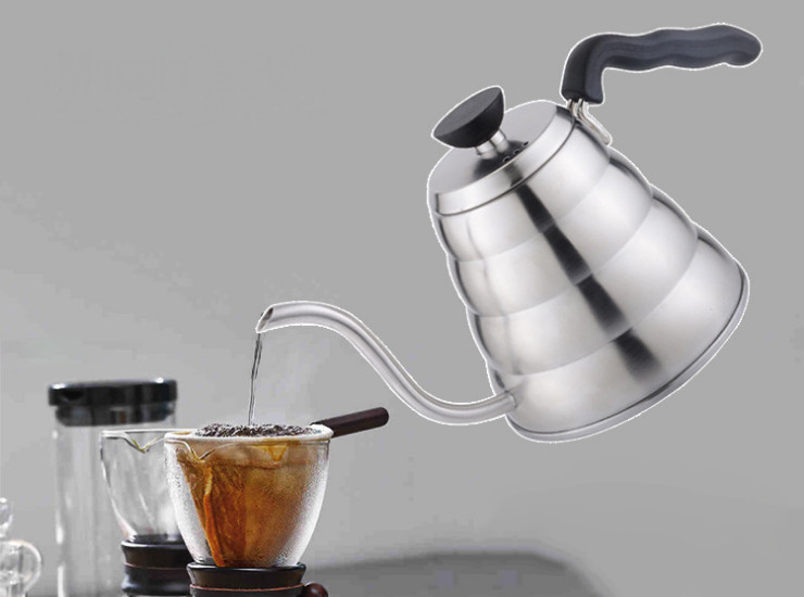 1.2L Hand Red Stainless Steel Coffee Pot Long Mouth Mouth Mouth Pot Cloud Pot Pot 304 Stainless Steel Hand Punch Pot