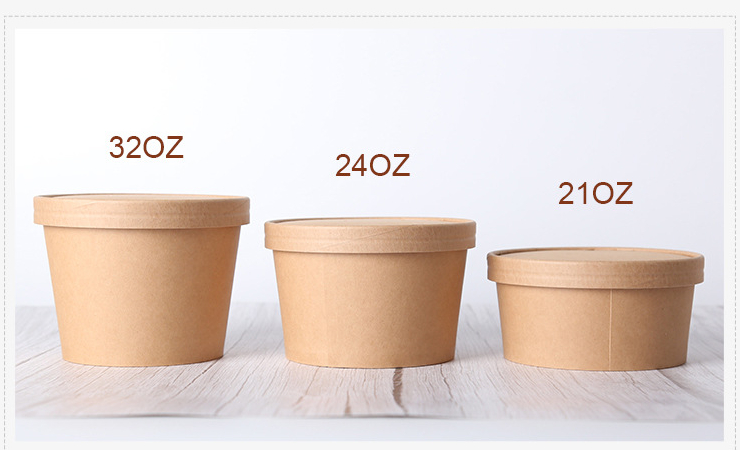 (Box/500Sets) 142 Large Mouth Kraft Paper Soup Bucket (Door Delivery Included)
