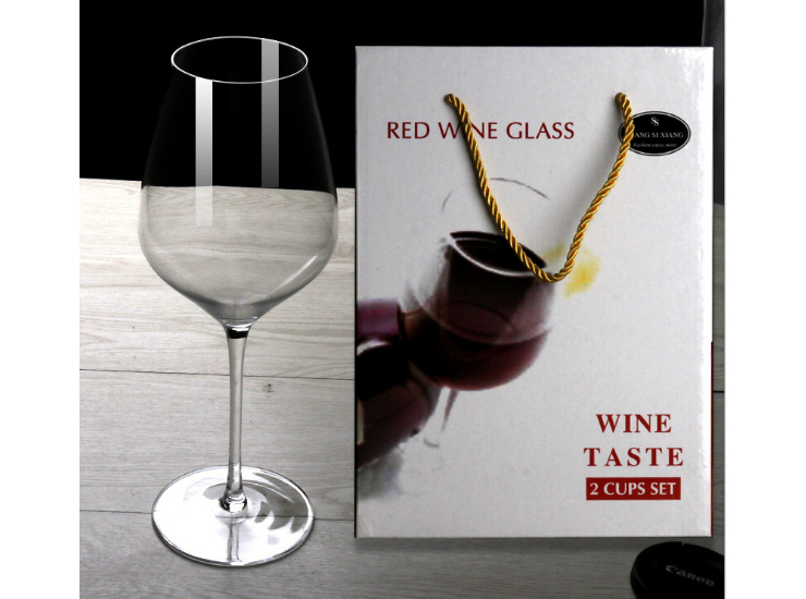 2 Gift Boxes Red Wine Glass Lead-Free Crystal Goblet Wine Bordeaux Glass Gift Set
