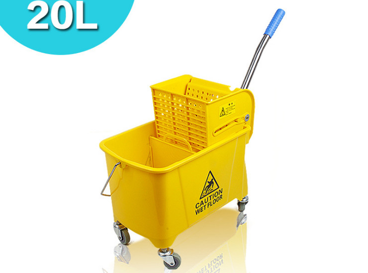 20L Single Barrel Squeezing Water Truck Home Thickened Plastic Mop Bucket Lateral Squeezing Bucket