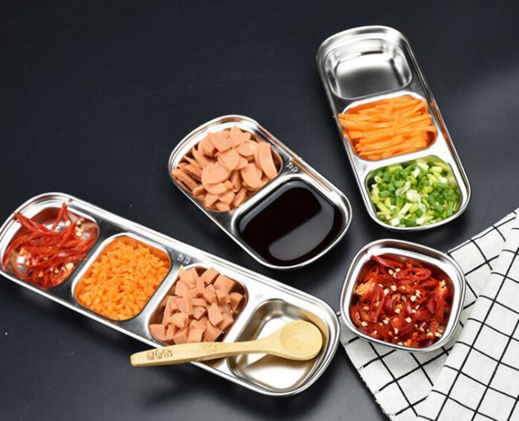 304 Non-Magnetic Thickened Square Stainless Steel Korean Kitchen Seasoning Dish Multi Grid Hot Pot Barbecue Sauce Dish Kimchi Dish (Order According to Box Qty)