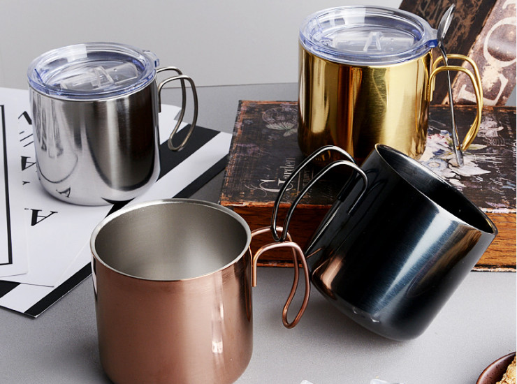 304 Stainless Steel Coffee Cup With Hand Mug Mug Beer Mug With Handle Cover Double Cup