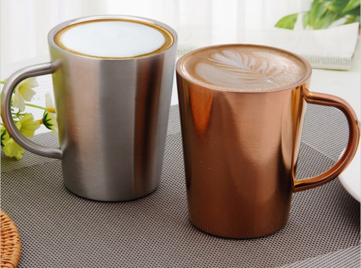 304 Stainless Steel Cup Stainless Steel Cup Copper Double-Layer 304 High Temperature Milk Tea Cup