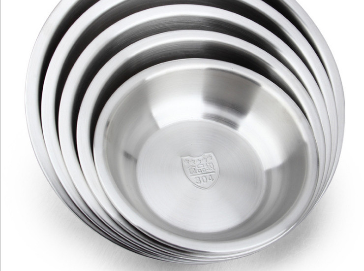 304 Stainless Steel Disc Dish Dish Dish 18-8 Shallow Soup Pot Thick Food Grade Soup Bowl 16-24Cm Kitchen Code Code Pocket Pots
