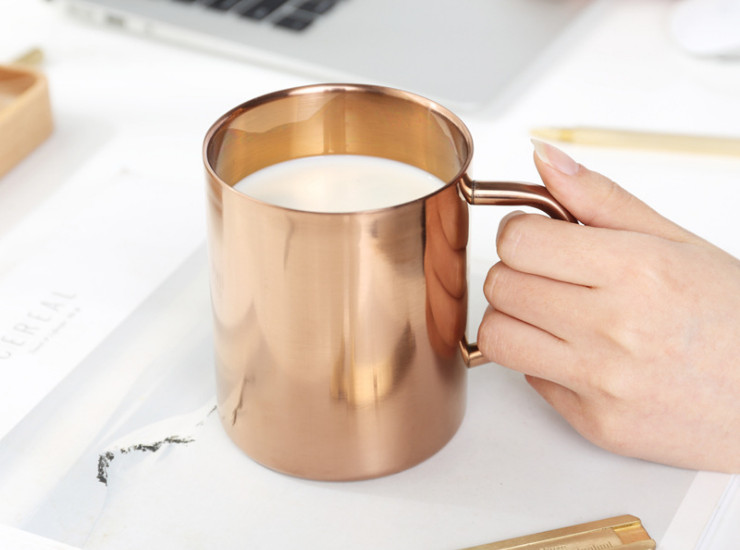 304 Stainless Steel Double - Layer Titanium Coffee Cup Copper - Plated Mugs Water - Plated Candle Cups