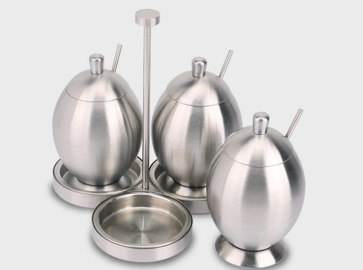 304 Stainless Steel Egg-Shaped Flavoring Cans Olive-Shaped Seasoning Bottles Sugar Cans Seasoning Tank Sets