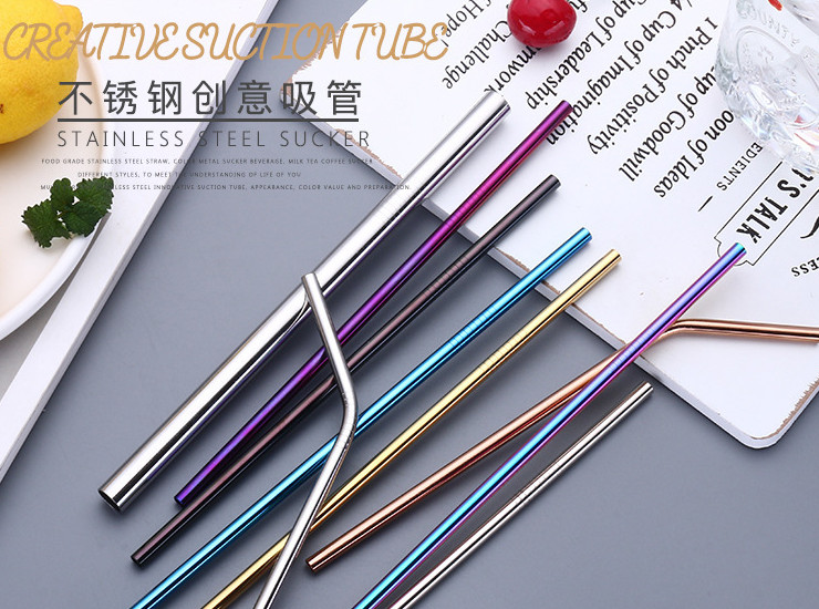 304 Stainless Steel Food-grade Stainless Steel Straw Eco-friendly Colorful Set