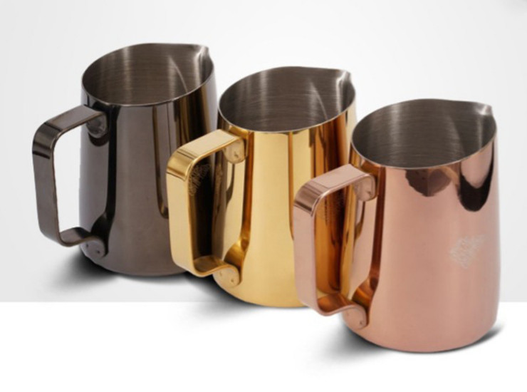 304 Stainless Steel Oblique Pull Cup Cup Plating Rose Gold Coffee Milking Cup Pull Flower Cylinder 450Ml