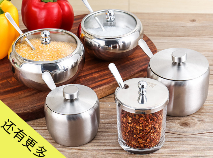 304 Stainless Steel Seasoning Box Seasoning Jar Creative Kitchen Household Supplies Seasoning Bottle Jars 18 Jars
