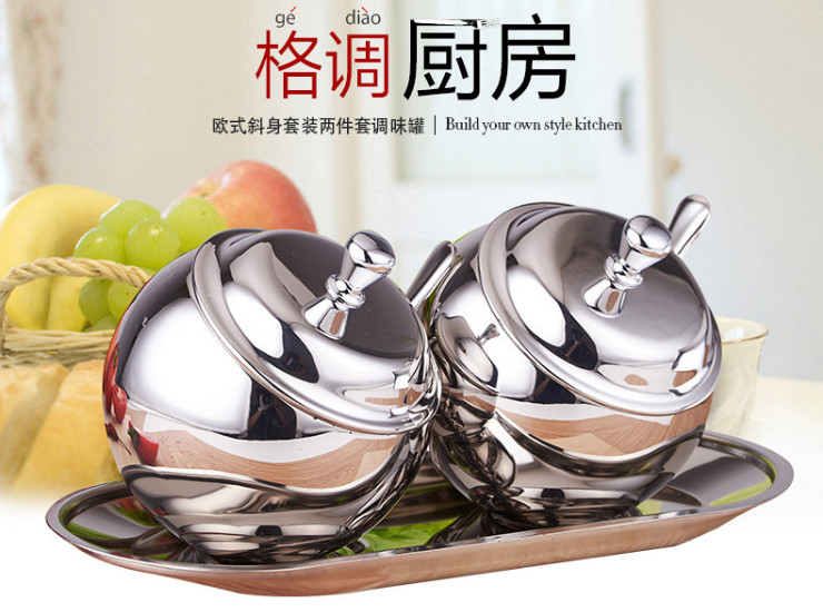 304 Stainless Steel Seasoning Jar Cruet Seasoning Box Sugar Salt Can Seasoning Box Seasoning Cylinder Set