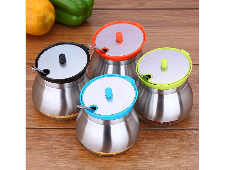 304 Stainless Steel Seasoning Jar Seasoning Bottle Creative Kitchen Withered Taste Box Vase Racks Fitted With Small Spoon
