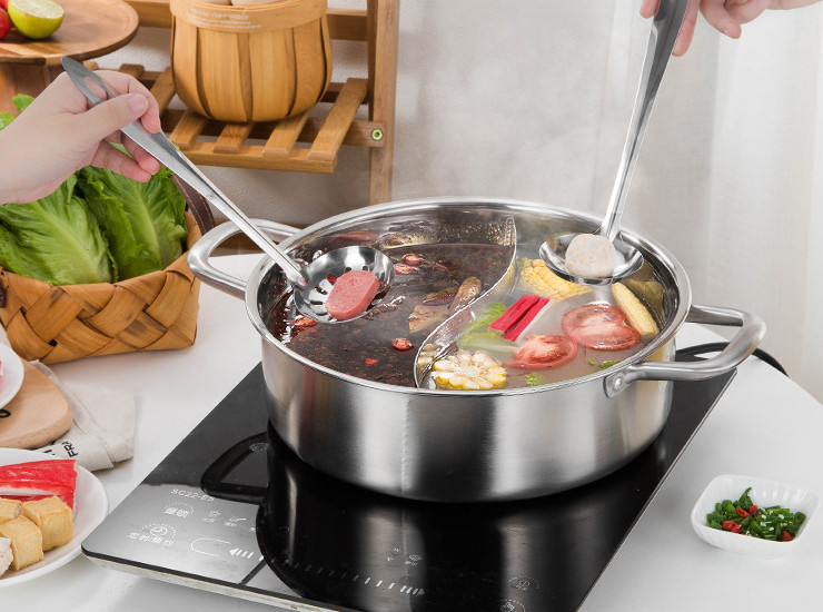 304 Stainless Steel Shabu-Shabu Hot Pot Pot Household Shabu-Shabu Induction Cooker Special Household Hot Pot Pot Shabu-Shabu