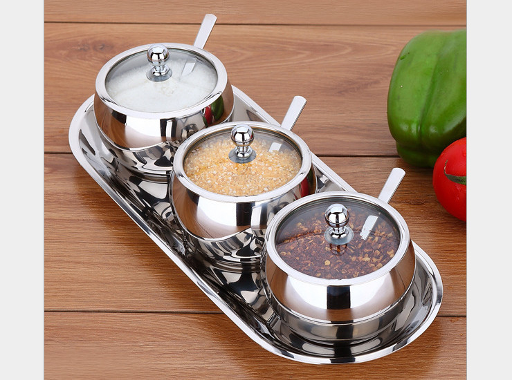 304 Stainless Steel Spherical Glass Cover Seasoning Suit