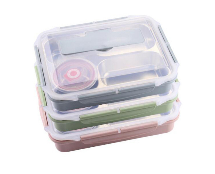 304 Stainless Steel Thickened Square Lunch Box Student Office Worker Large Capacity Lunch Box Temperature Sealed Lunch Box
