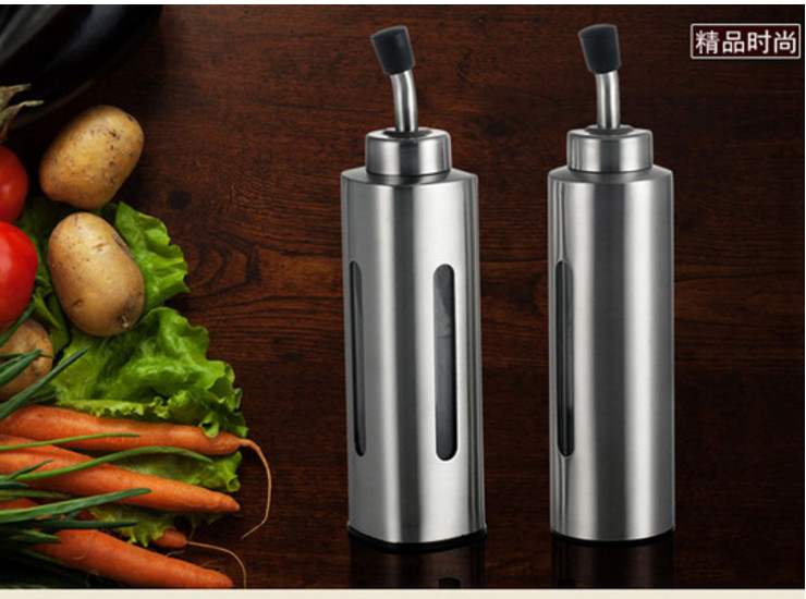 304 Stainless Steel Transparent Round Oil Bottle Soy Sauce Vinegar Pot