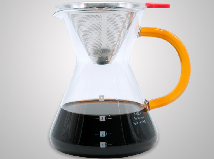 400Ml Coffee Share Pot Hand Red Home Cooking Coffee Pot Glass Drip Pot Glass Hand Punch Pot