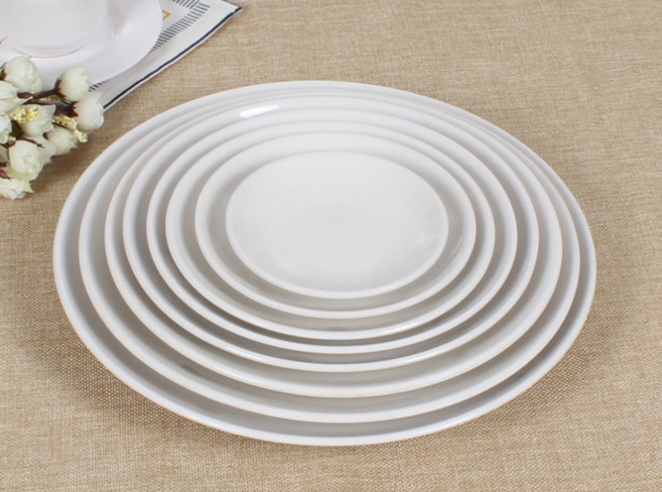 6-16 Inch Western-Style Flat Melamine Plastic Dishes Dishes Dishes White Discs Fast