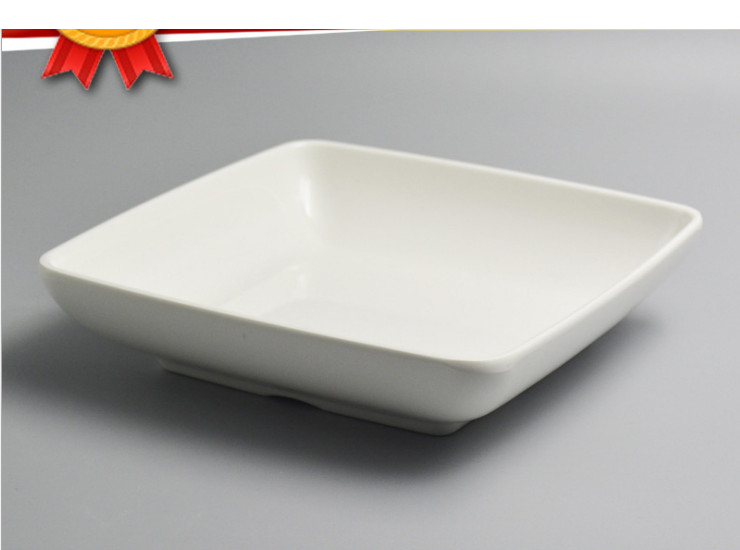 A5 Ammonia Square Cylindrical Buffet Ammonia Plate White Hot Pot Melamine Dish Custom Square Barbecue Dish