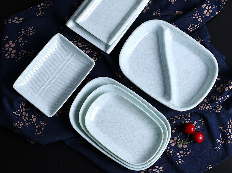 A5 Ice Crack Rectangular Plate Plastic Dish Commercial Melamine Sausage Powder Household Long Strip Snack Plate Imitation Porcelain