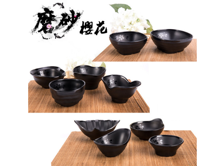 A5 Melamine Tableware Black Frosted Sauces Sauce Bowl Buffet Pot Seasoning Bowl
