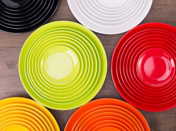 A5 Melamine Tableware Cutlery Color Circle Disc Cake Dish Head Rice Dish Buffet Dishes