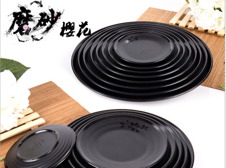 A5 Melamine Tableware Cutlery Sanding Sakura Black Round Dish Plate Dish Plate Resistant To Fall