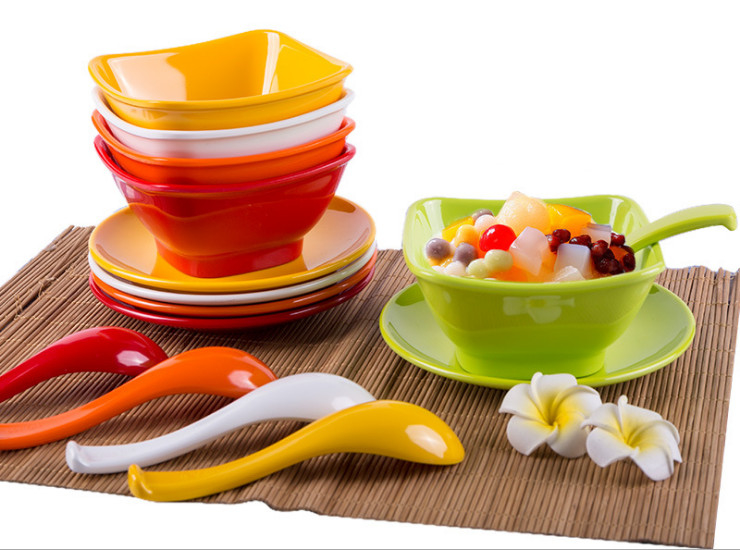 A5 Melamine Tableware Set Of Four Sets Of Dessert Bowls Creative Color Bowl Square Bowls Beautiful Drop