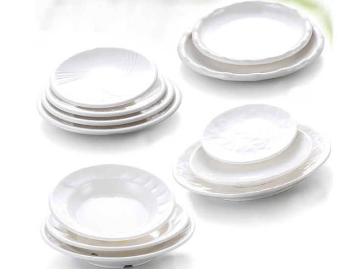 A8 Melamine Hotel Imitation Porcelain Melamine White Horizontal Plate Salad West Point Shaped Plate Round Soup Plate (Multiple Styles & Sizes)