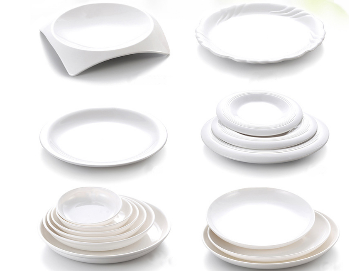 A8 Melamine Melamine Tableware Flat Plate White Round Snack Plate Western Dish Melamine Resistance Deep Disc (Multiple Styles & Sizes)