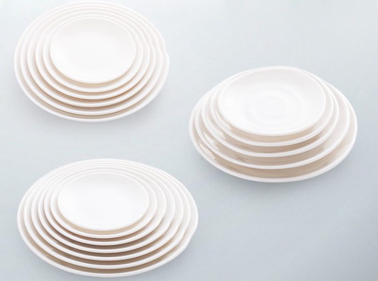 A8 White Disc Creative Shallow Plate Snack Plate Hotel Restaurant Commercial Dinner Plate Flat Plate Snack Plate