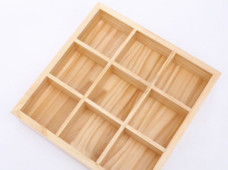 About Japanese Cuisine Jiugongge Plate Creative Hot Pot Four Grids Stylish Wooden Tray
