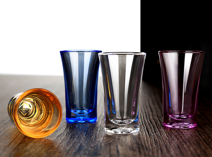 Acrylic Bullet Cup Spirit Glass White Wine Glass Bar Ktv One Cup Creative Color Wine Glass