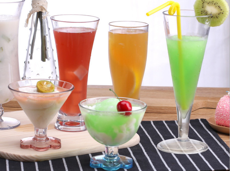 Acrylic Juice Cup Tea Cup Transparent Plastic Imitation Glass Drink Cup Milkshake Dessert Ice Cream Ice Cream Cup
