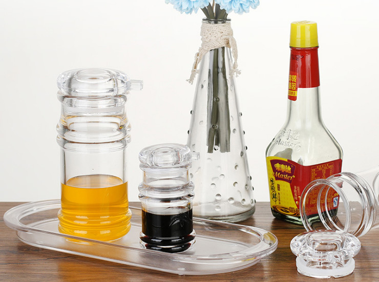 Acrylic Kitchen Cruet Plastic Leakproof Transparent Imitation Glass Barbecue Spread Soy Sauce Vinegar Bottle Seasoning Bottle Set