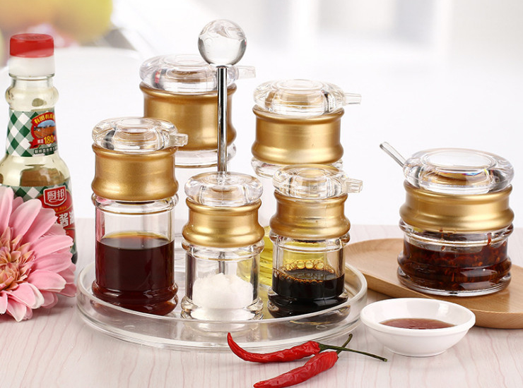Acrylic Seasoning Bottle Leakproof Soy Sauce Bottle Chili Jar Vinegar Bottle Transparent Seasoning Bottle Seasoning Pot Vinegar Pot Oil Pot Set