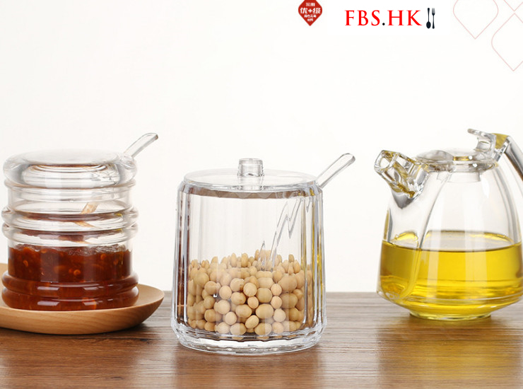 Acrylic Seasoning Jar Transparent Oil Salt Pot Chili Pot Set Kitchen Supplies