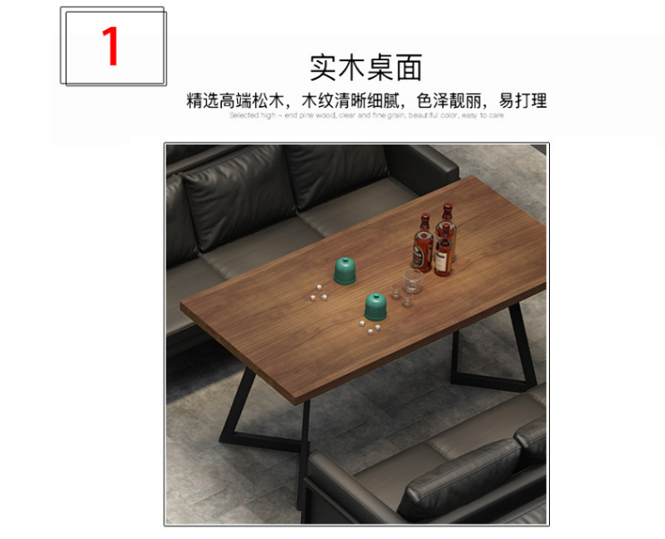 American Leather Art Sofa Combination Industrial Style Bar Clear Bar Sofa Table And Chair Restaurant Multi-Seat Sofa Deck (Delivery & Installation Fee To Be Quoted Separately)