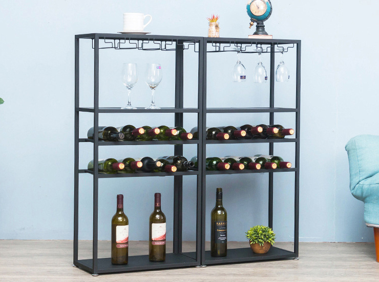 Apartment Winery Storefront Metal Wine Cabinet Against The Wall Floor Shelf Simple Iron Wine Rack (Shipping Fee Is Reported Separately)