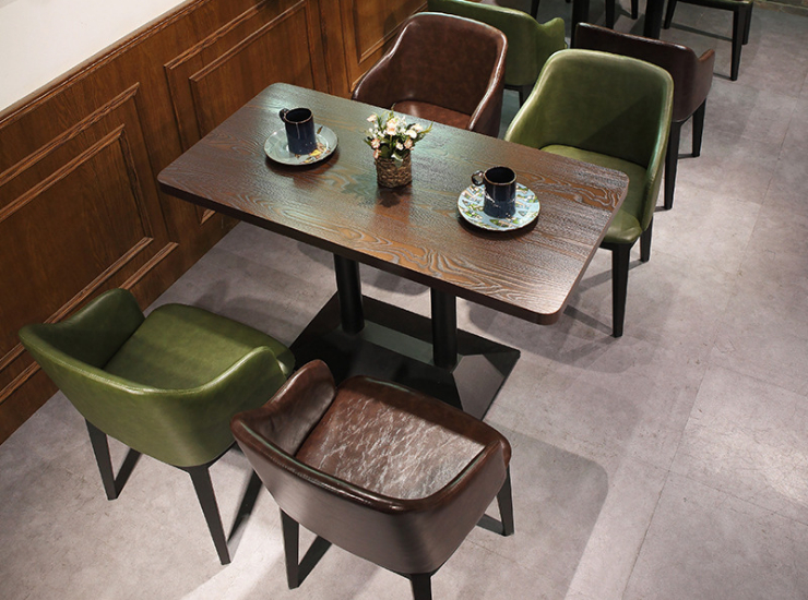 Artificial Leather Wrought Iron Coffee Shop Table Chair Vintage Business Negotiation Chair Sales Office Reception Back Table Chair Combination (Delivery & Installation Fee To Be Quoted Separately)