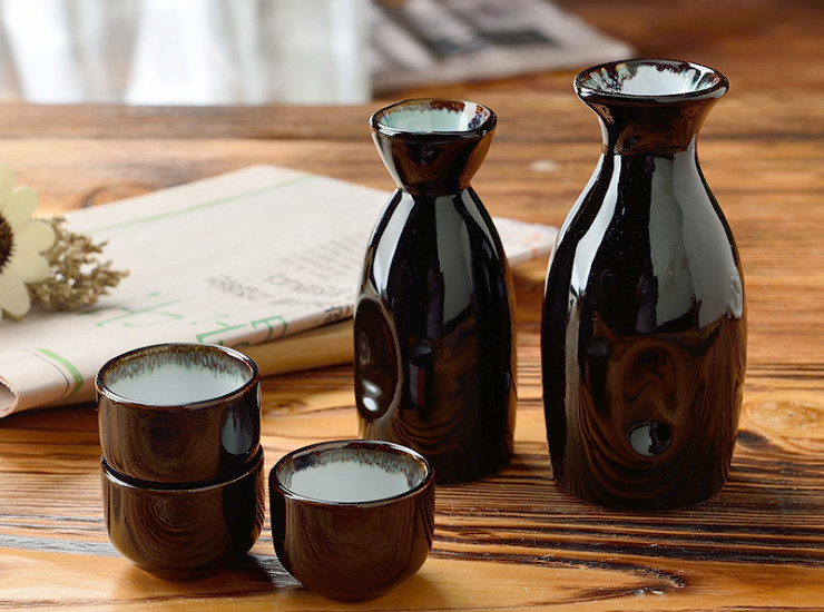 Baiyun Texture Japanese Korean Sake Cup Sake Pot Ceramic Tableware Wine Color Glaze Sushi Restaurant