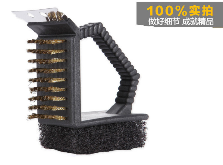 Barbecue Cleaning Brush Clean Copper Brush Three Brush Wire Brush Multifunctional Grill Brush
