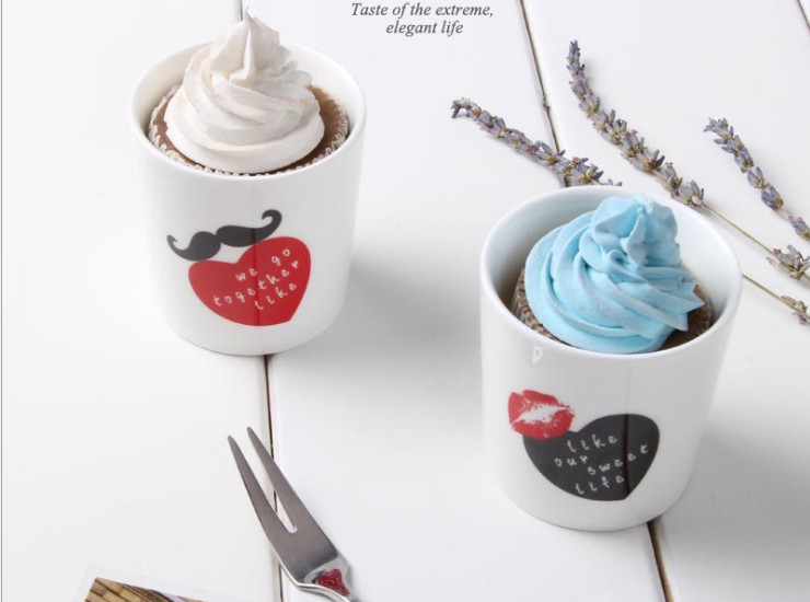 Beard Red Lips India High - Grade Creative Pudding Cup Cheese Cup Mousse Cup Roasted Personality Ceramic Baking Mold