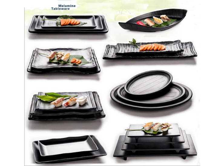 Black Frosted Barbecue Plate Imitation Porcelain Barbecue Melamine Sushi Plate Dish Plastic Long Plate Fish Dish Japanese Hot Pot Tableware