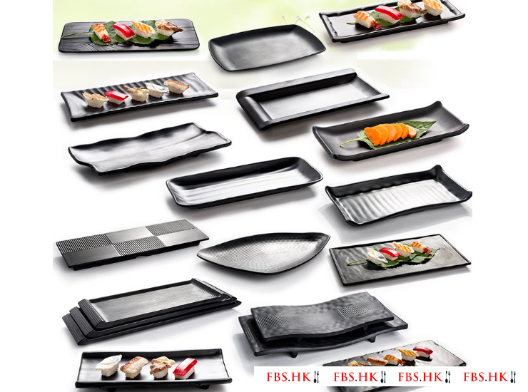 Black Matte Barbecue Cutlery Imitation Porcelain Melamine Sushi Dish Rectangular Plate Japanese Beef Hot Pot Dish