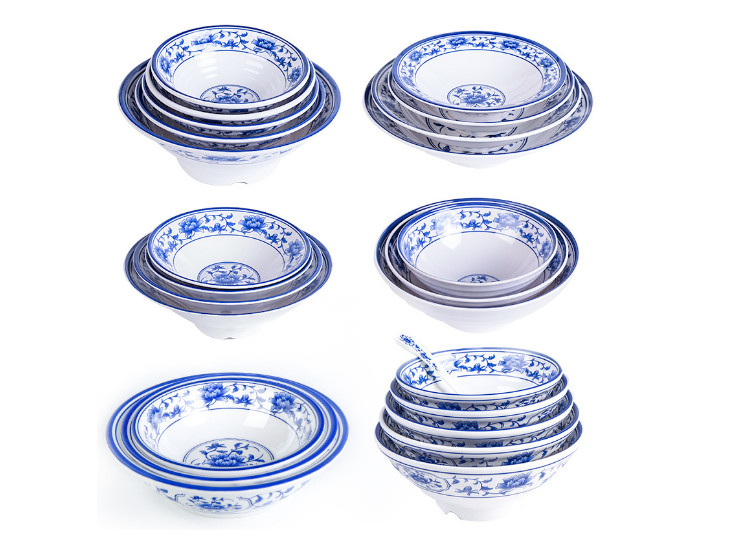 Blue And White Porcelain Melamine Thickened Spicy Lanzhou Noodles Ajisen Ramen Bowl Soup Bowl Retro Antique Tableware
