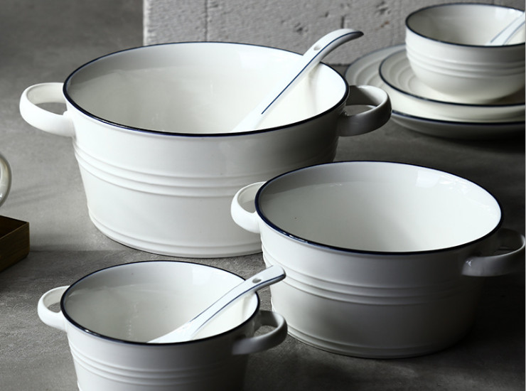 Blues Nordic Style Simple Ceramic Bina Bowl Salad Bowl Anti-Scalding Soup Bowl Dessert Breakfast Oatmeal Bowlware