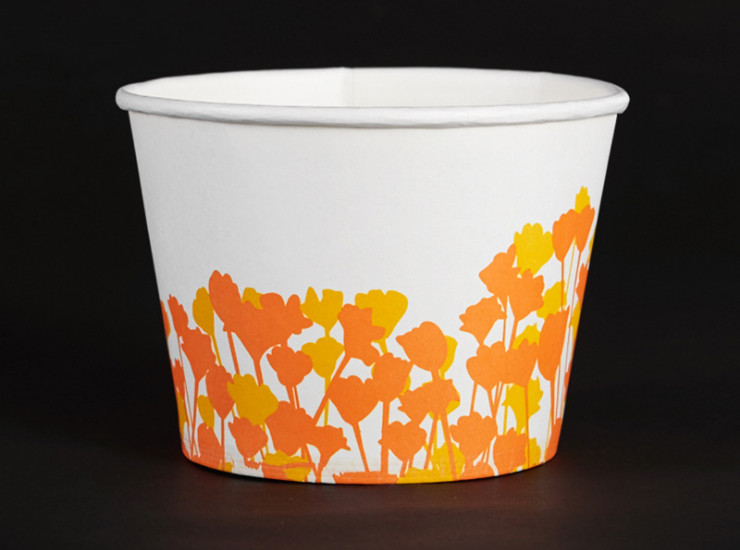 (Box / 1000 Pcs) Hot And Sour Powder Snacks Yellow Flower Paper Bowl Environmental Health 1000 Loaded Round Disposable Cattle Miscellaneous Paper Bowl (Door Delivery Included)