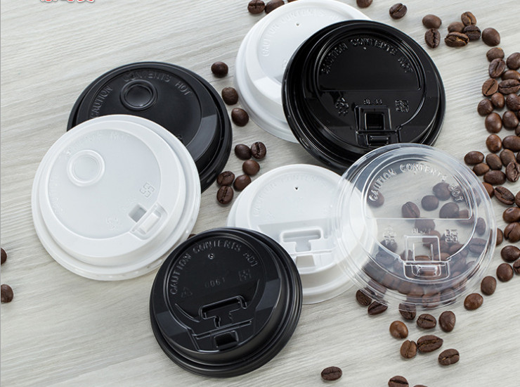 (Box / 1000 Pcs) Paper Cup Cover 8/12/16 Coffee Cup Cover Pp / Ps Black And White Hole Tea Cup Cover Transparent (Door Delivery Included)