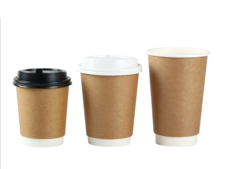 (Box/500pcs) 8oz 12oz 16oz Disposable Paper Cups Coffee Milk Milk Tea Hot Drinks With Packaged Leather Hollow Cup (Door Delivery)